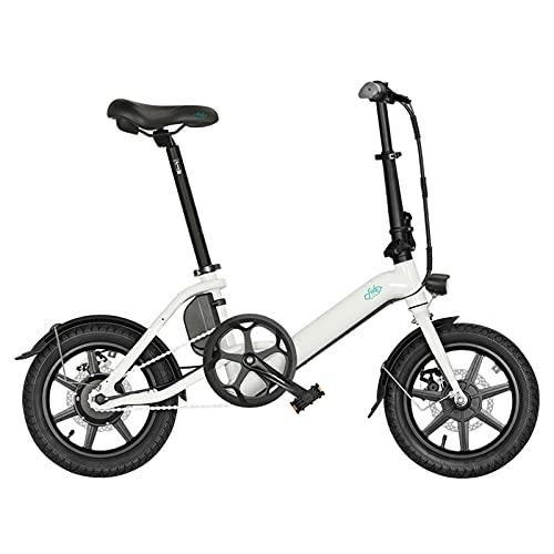 FIIDO D3 Pro - Bicicleta eléctrica plegable, aleación de aluminio, portátil, para hombre y mujer, 36 V, 7,5 Ah, 25 km/h, 60 km, 18 kg, 250 W, motor sin escobillas, color blanco