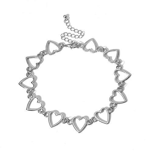 INSEET Frauen Hollow Heart Choker Halskette Party Schmuck Geschenkkette Halskette Charm Schmuck für Mädchen, Silber Farbe