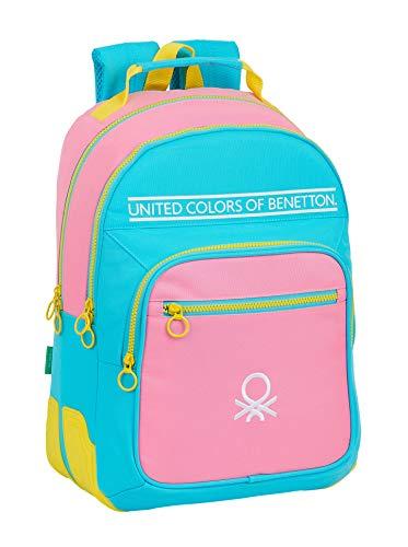 Safta Mochila Escolar de Benetton Color rosa/turquesa/amarillo, 320x150x420mm