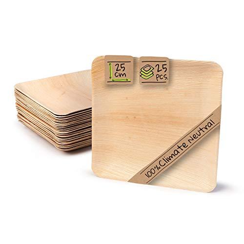 BIOZOYG Palmware Haute qualité d'assiette en Feuille de Palmier I 25 pièces d'assiettes Rectangle du Feuille Palmier 25 x 25 cm I Bio jetable Vaisselle pour fête Rapidement décomposable