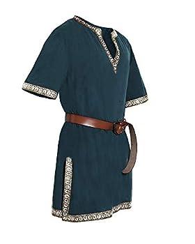 Taoliyuan Mens Medieval Costume Tunic Renaissance Viking Knight Pirate Vintage Warrior LARP Halloween Shirts Green X-Large