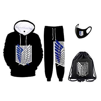 New Mens Attack on Titan Manga Hoodie and Sweatpants Cosplay Jacket Tracksuits Attack on Titan Drawstring Bag & Mask  zuhe,XL
