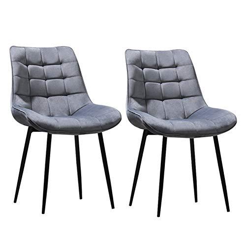 ZCXBHD Stühle 2er Set Hochwertiger Polsterstuhl Bis Zu 150 Kg Belastbar Strapazierbarer Flanell Premium Dining Chair Leicht Montierbare Esszimmerstühle (Color : Gray)