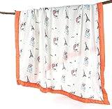 Musselin-Wickeldecke, 4-lagig, Handtuch, Bambus, extra groß, 120 x 120 cm, vorgewaschen, ultra-weich, extra dick, atmungsaktiv, für Neugeborene bis zu 5 Jahre
