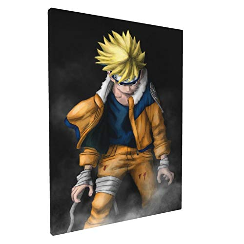 Naruto-uzumaki Poster Wall Art, Japanese Anime Art Poster Print Framed Canvas Paintings Ready to Hang Wall for Bedroom Living room, 12'X16'