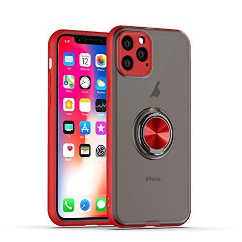 GOBY Coque iPhone 11 Pro, Slim Fit TPU avec Support de BagueSilicone Gel Anti Mince Placage Bumper Housse Lustre Métal 360° Bague Support Téléphone Voiture Etui (ROUGE)