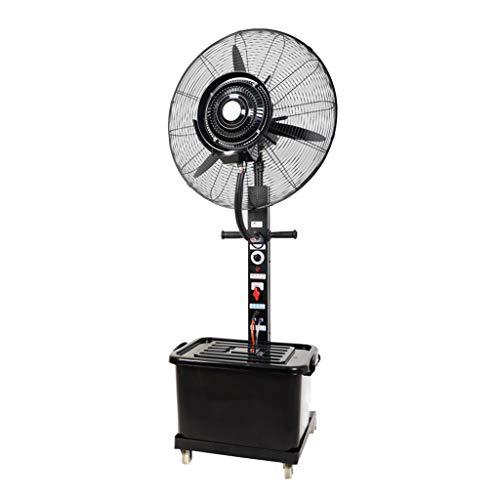 Ventilador de pie oscilante con nebulizador de agua/función ionizador de aire/Ventiladores de pedestal/Ventilador Industrial de pie /3 Velocidades/deposito Agua 42 litros/Negro