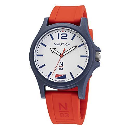 Nautica Men's Quartz Silicone Strap, Red, 20 Casual Watch (Model: NAPJSF005)