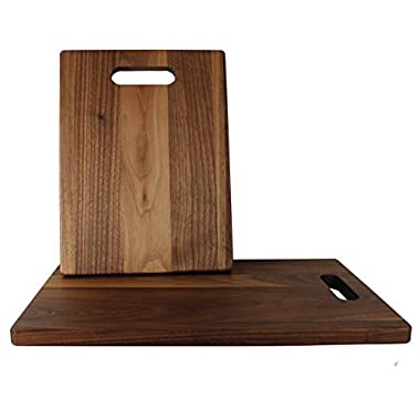 KitchenTalent Walnut Cutting Board Set - Large and Small Dark Hardwood Chopping Boards With Handle - 11 x 16 x .75-9 x 12 x .75 - Solid Wood Butcher Block - Great Gift Idea