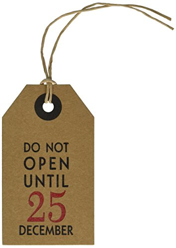 CleverDelights Gift Tags - 25 Pack - Do Not Open Until December 25 - Christmas Holiday Kraft Paper Hang Tag