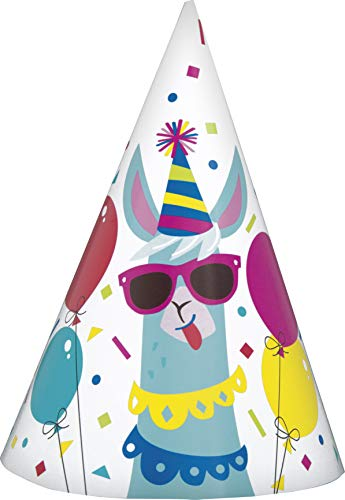 Unique Party 73231 - Llama Birthday Party Hats, Pack of 8