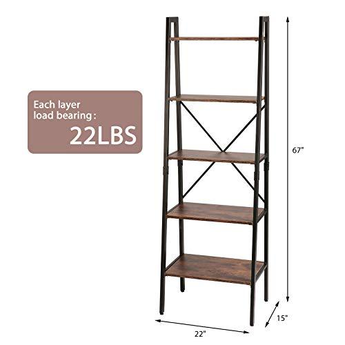 TOOCA 5-Tier Ladder Shelf Wood Multipurpose Utility Open Back Industrial Leaning Ladder Bookshelf Design Premium Quality Easy Assembly Shelf Storage for Living Room Bedroom Kitchen Home Office Balcony
