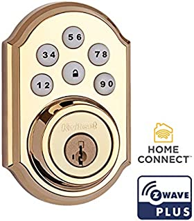 Kwikset 99100-077-R 910 Traditional SmartCode Electronic Deadbolt Featuring SmartKey Security and Z-Wave Technology in Lifetime Polished Brass (Renewed)
