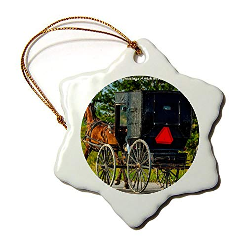 Christmas Ornaments, Amish Horse Buggy Indiana Christmas Horse Buggy Porcelain Snowflake Ornament Tree Hanging Decor Gift For Families Friends,3 Inch