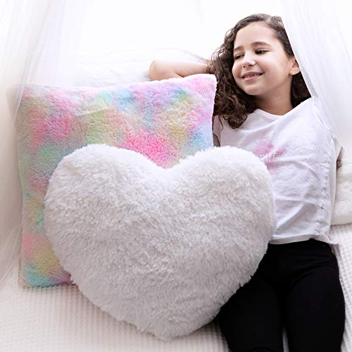 Set of 2 Decorative Throw Pillows for Girls. White Fluffy Heart Throw Pillow and Soft Rainbow Colorful Pillow. Plush Girls Pillows for Kid's Bedroom Décor and Toddler's Princess Room. Gift for Girls