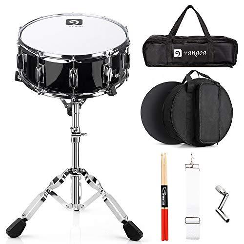 Vangoa Snare Drum Set, Caja de Tambor 14 pulgadas Profesional, 10 clavijas de afinación, cavidad de madera de arce, con soporte de tambor y accesorios ricos