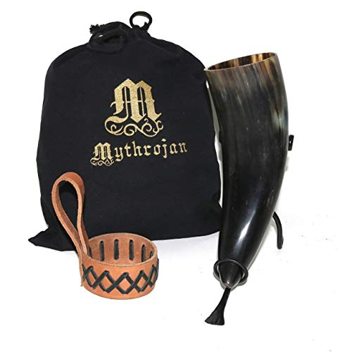 Mythrojan Drinking Horn with Celtic Leather Holder Authentic Medieval Inspired Viking Wine/Mead Mug - Polished Finish 400ML Bundle with Mythrojan Hand Forged Drinking Ale Horn Rack Twisted Iron