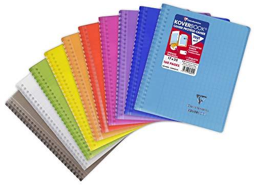 Clairefontaine 356401C - Un cahier à spirale Koverbook 160 pages 17x22 cm 90g grands carreaux, couverture polypro (plastique) enveloppante transparente couleur aléatoire