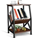 amzdeal Side Table, Nightstand, End Table with with 3-Tier Storage Shelf for Living Room, Bedroom, Balcony, Office, Industrial, Easy Assembly, Stable Steel Frame, Brown