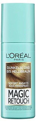 L'Oréal Paris Ansatz-Kaschierspray ohne Ammoniak, Auswaschbare Haarfarbe, Magic Retouch Ansatzspray, Dunkelblond bis Hellbraun, 1 x 75 ml