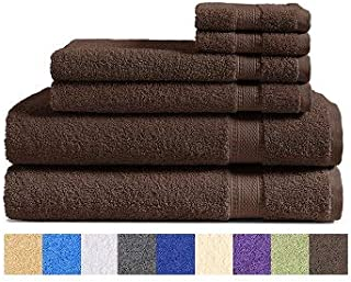 100% Cotton 6-Piece Towel Set (Chocolate Brown): 2 Bath Towels, 2 Hand Towels and 2 Washcloths, Classic Amercian Construction, Soft, Highly Absorbent, Machine Washable