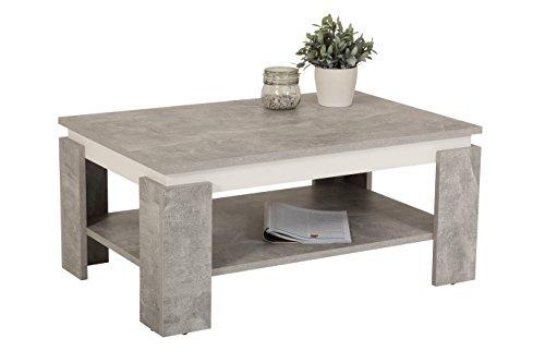 Couchtisch Tim II, Holzwerkstoff, beton/weiß, 90x60x41 cm