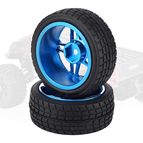 Fernbedienung Autoreifen, 2 STÜCKE RC LKW Auto Gummirad Reifen für Redcat/HSP/HPI/Hobbyking/Traxxas/Losi/VRX/LRP/ZD Rennwagen 1/10 On-Road(Blau)
