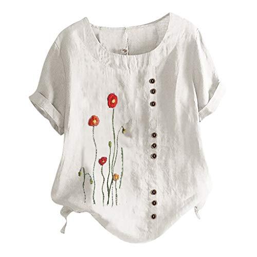 Betory Damen Kurzarm Baumwolle Leinen Hemd Sommer Floral Grafik Tops Casual Boatneck Tee Shirts Elegant Bequem Plus Size Blusen M-5XL Gr. XXX-Large, 1 weiß