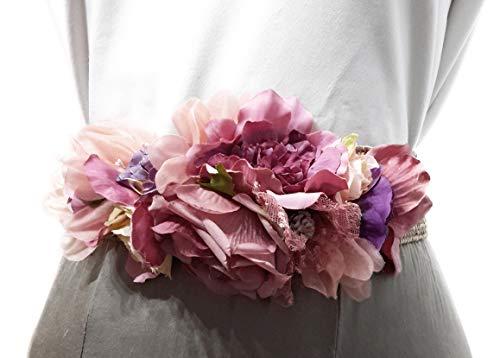 BRANDELIA Cinturones de Flores para Vestidos de Fiesta Mujer Cinturones Elásticos Mujer con Flores Artificiales, Cinta Rafia Tonos Malva