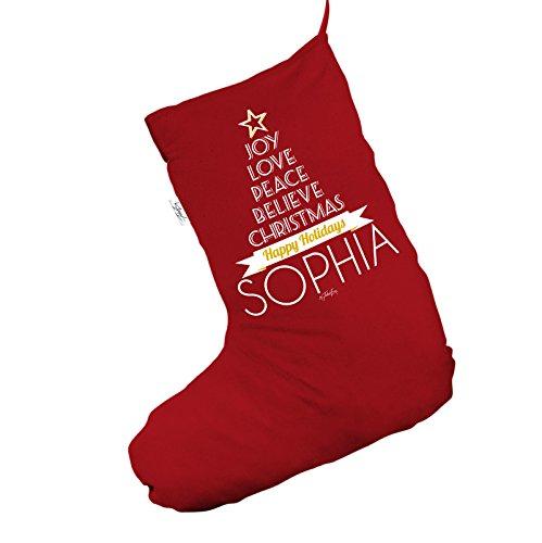 Joy Love Peace albero di Natale personalizzata Jumbo rosso 'Calze di Natale calze