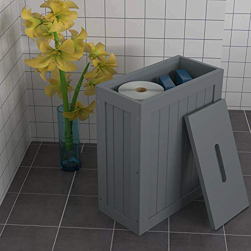 woodluv Grey Shaker Slimline Wooden Multi-purpose Bathroom Storage Unit