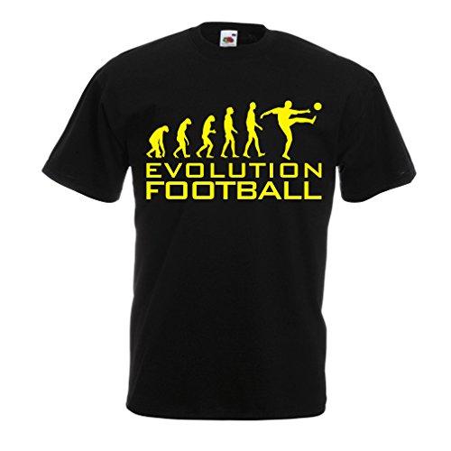 lepni.me Camisetas Hombre La evolución del fútbol - Camiseta de fanático del Equipo de fútbol de la Copa Mundial (XXXXX-Large Negro Amarillo)