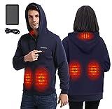 Anniou Sweat à capuche chauffant USB avec double interrupteur de température réglable pour homme et femme, Style 2 bleu foncé avec batterie 10 000 mAh, S