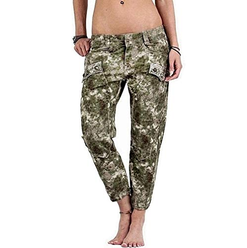 Guess Jeans Damen Capri Hose Outdoor Freizeithose Caprihose 7/8 Länge, Army-Green Camouflage Military Short Pants, Relaxed/Regular-Fit Passform (W29)