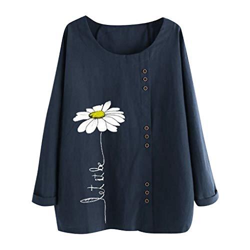 Auiyut Damen Leinen Bluse Tunika Tops Langarm Lose T-Shirt Bedruckte Tops Rundhals Casual Oberteile Große Größen Bluse T-Shirt Tops mit Knopf