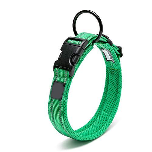 XIAOLANMEI Collar Perro pequeño Malla Ajustable Pet Pet Pet Colar 3M Reflectante Nylon Cuello de Perro Durable Pesado Ajuste para Todos Raza Todo Tiempo 8Size (Color : Grass Green, Size : M)