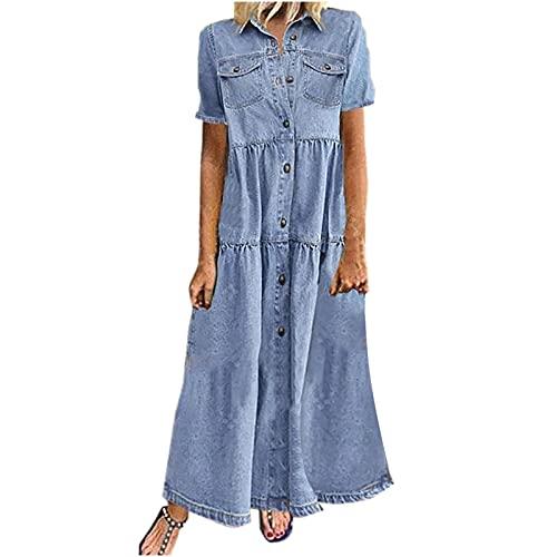 Fanteecy Women s Denim Dresses  Summer Casual Short Sleeve Turn Down Collar Pockets Button Long Loose Dress Light Blue