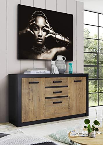 Newfurn Sideboard Kastanie Holz Dekor Anthrazit Kommode Vintage Industrial - 153x88x42 cm (BxHxT) - Highboard Anrichte - [Konstantin.six] Wohnzimmer Schlafzimmer Flur Esszimmer