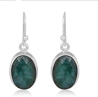 Plata de ley 925, pendientes colgantes, pendientes de esmeralda ovalados, pendientes colgantes Plata Aretes, Sterling Silver Earrings for Women