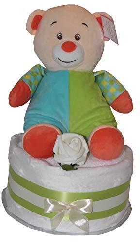 Unisexe Gâteau de Couches Bébé Peluche Mignon Unisexe Ourson Hochet Jouet Design Comprend Blanc Doux Star Couverture Rose Lavage Lingette Fête de Naissance Bébé Naissance Maternité Cadeau