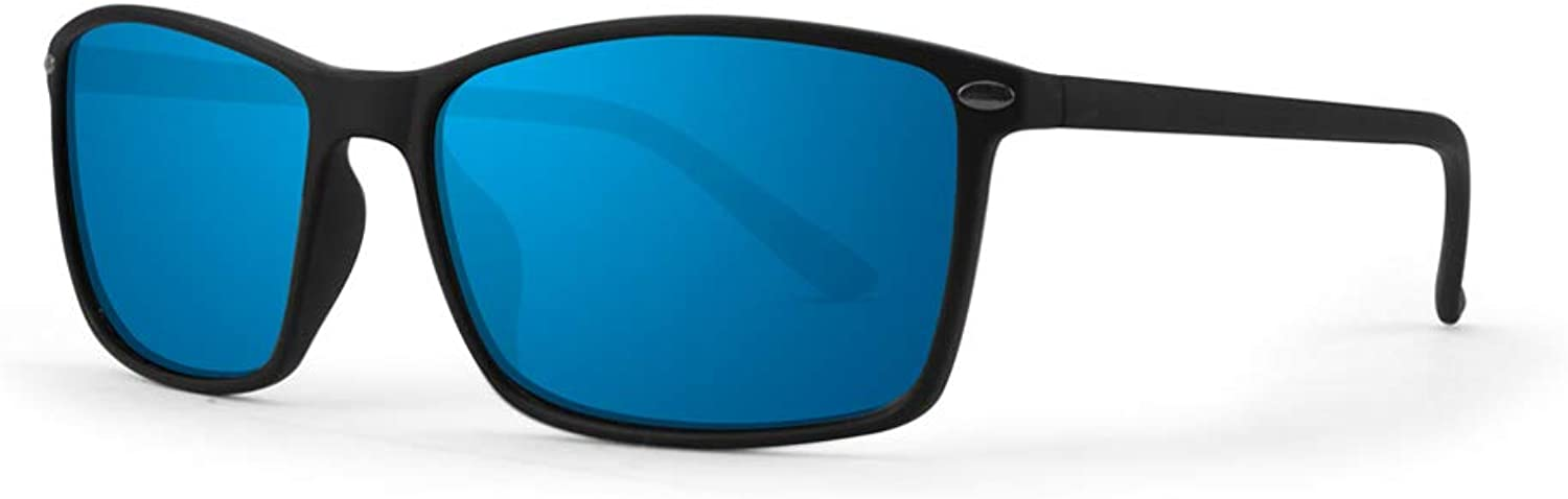 Epoch 11 Sport Cycle Sunglasses Black Frame with Polarized bluee Mirror Lens