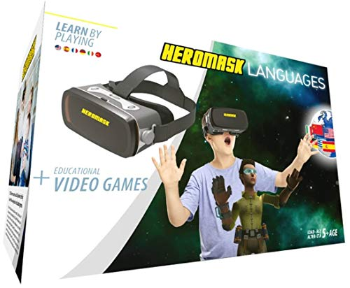 Heromask Virtual Reality Headset for Children + Video Games to Learn Spanish Italian etc [Language Learning] Stem Toys. Kids Gifts for Boys and Girls for Age 5 to 12 Years Old. Educational
