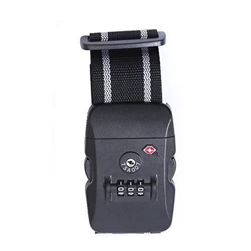 Logic(ロジック) スーツケースベルト TSAロック ベルト (全12色 ブラック × グレー) [盗難・紛失・荷崩れ防止] スーツケース用 鍵付き ダイヤルロック タスロック 長さ調節可能