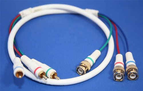 3 RCA Male (RGB) to 3 BNC Component Video Cable, 3 ft