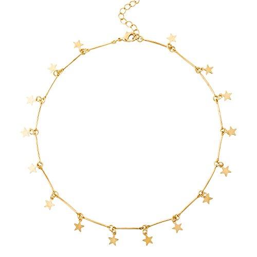 BaubleStar Damen Stern Kette in Goldfarbe Filigrane Choker Halskette mit Gold Stern Anhängern Geschenk Schmuck für Frauen Mädchen