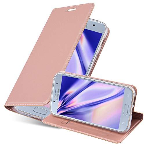 Cadorabo Hülle für Samsung Galaxy A3 2017 (7) - Hülle in ROSÉ Gold – Handyhülle mit Standfunktion und Kartenfach im Metallic Look - Case Cover Schutzhülle Etui Tasche Book Klapp Style
