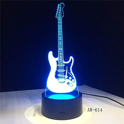 BFMBCHDJ Musik Coole Gitarre Bass 3D LED LAMPE NACHTLICHT für Musiker Hause Tischdekoration Geburtstag Weihnachtsgeschenk Geschenk