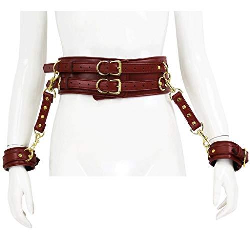 LBBD RRAL - Kit de sujecin de cuero para yoga, arns de cintura con correas de mueca para mujer, suave y cmodo, ajustable, para parejas, juguetes vaqueros (color rojo)