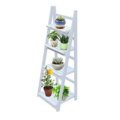 Homgrace - Estante escalera de madera, estantería de pared, estantería de estilo escalera, biblioteca, libros, flores, 4 pisos, plegable, para salón, cuarto de baño, mueble de almacenamiento, blanco
