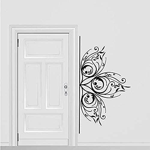 Vinilo de pared calcomanía hermosa talla delicada floral adorno ventana etiqueta de la ventana habitación habitación sala de estar flor decoración del hogar 64x30cm